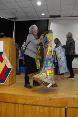 quilts where flying for show and share for our donated part of the program so many talented and giving quilters.